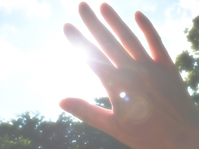 太陽の光と手